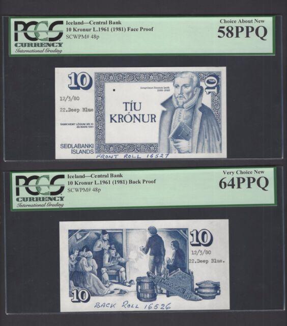 Iceland 10 Krónur Iceland L1961 (1981) P48p Obverse &Reverse Die Proofs Specimen