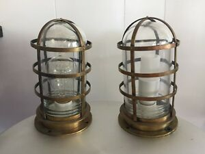 Details About Pair 2 Antique Nautical Br Cage Ship Page Bulkhead Lights