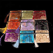 NEW 5PCS Mix Colors Chinese Zipper Coin Tassel Silk Square Jewelry Bags Pouches