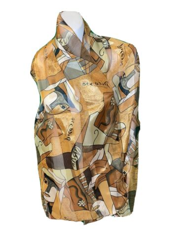 Women's Silk-Feel Brown Gold Picasso Art Abstract