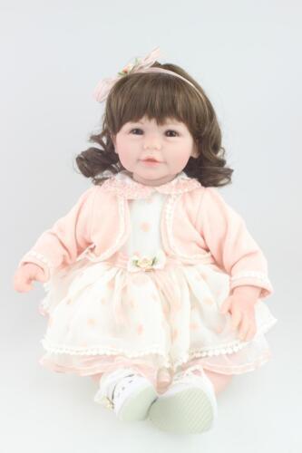 22''Handmade Lifelike Baby Silicone Vinyl Reborn Newborn Girl Doll+Clothes+Shoes