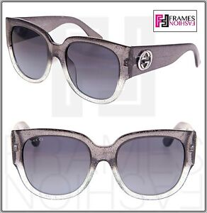0c5a1490bdf GUCCI GLITTER GG3836FS Square Grey Silver ASIAN FIT Sunglasses 3836 ...