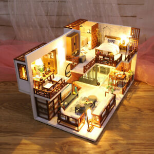 DIY-Handcraft-3D-Wooden-Toy-Miniature-Dollhouse-LED-Lights-House-Gift-w