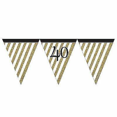 AGE 40 BLACK /& GOLD HAPPY BIRTHDAY PARTY DECORATIONS 40th TABLEWARE cp
