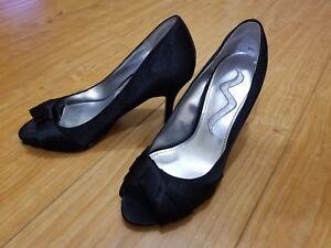 Black-Color-Women-Nina-Brand-High-Heel-Pumps-Shoe-Size-5-5