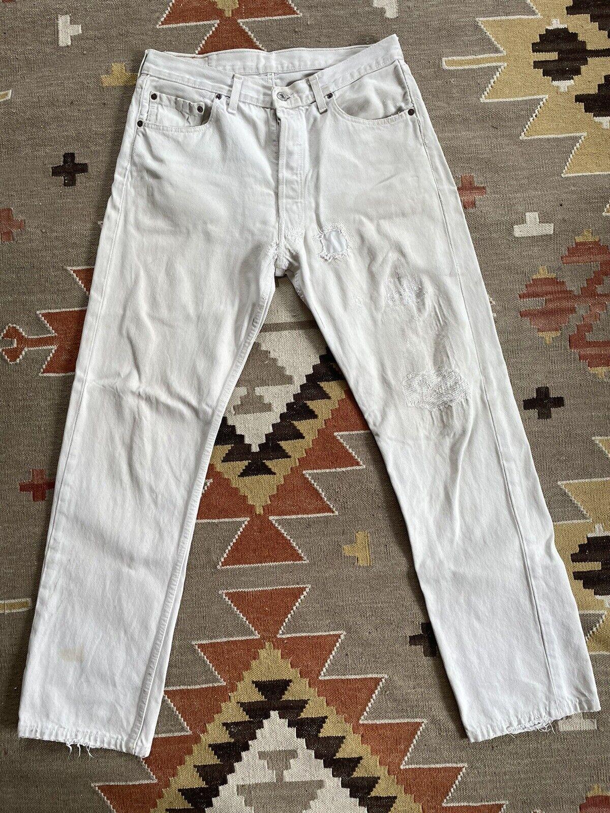 Vintage Levi's 501 Custom Distressed White Denim … - image 1