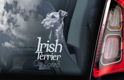 V02 Dog Sign Decal Sign Gift Idea Car Window Sticker Irish Terrier on Board