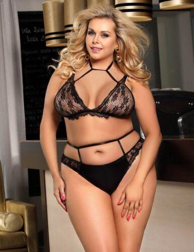 Dames Sous-vêtements soutien-gorge Set Bralette Wetlook Noir Dentelle Harness Lingerie S//XXL