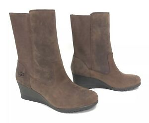 9f3c97dc054 Details about UGG Australia CORALINE BOOT HEELS WATERPROOF LEATHER COCONUT  SHELL Brown 1095133