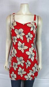Bali-Girl-Red-Beige-Blue-Beach-Cover-Tunic-Top-Dress-Womens-Size-Medium