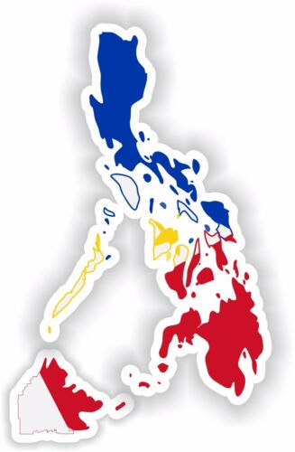 Philippines Map Flag Sticker for Locker Hard Hat Laptop Tablet Fridge Car Bumper