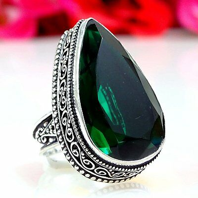 FINE CHROME DIOPSIDE GEMSTONE .925  SILVER JEWELRY VINTAGE STYLE RING SIZE-9.0""