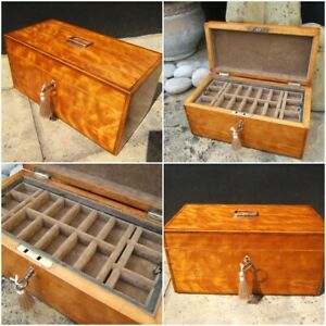 ANTIQUE JEWELLERY BOX - EARLY 19c INLAID SATINWOOD  WONDERFUL INTERIOR