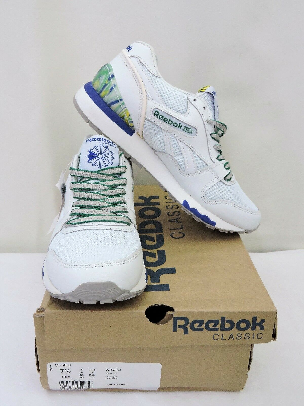 Womens Reebok Classic GL 6000 Sz 7.5 Ladies Gym Running Athletic Trainers Shoes