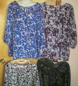 NWT-NEW-womens-size-XL-16-18-blue-brown-WHITE-STAG-keyhole-blouse-shirt-top
