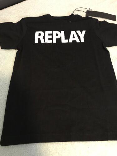 Replay Junior Black Logo T Shirt Age 12 Bnwt