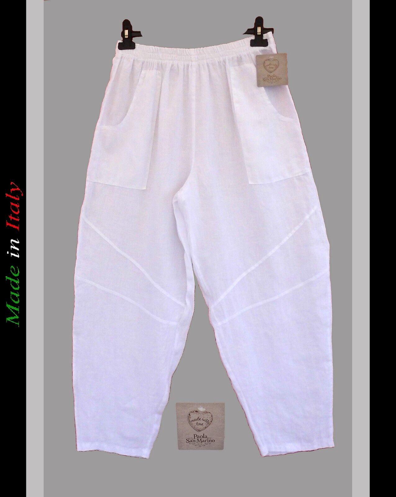 LEINEN HOSE SCHLUPFHOSE WEISS TROUSERS  PANTALON PANTS WEITES BEIN GR.1 42-44