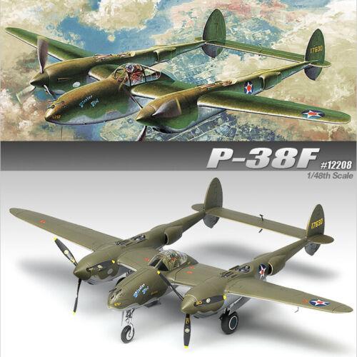 Academy-1-48-P-38F-Lightning-Glacier-Girl-12208-Aircraft-Plastic-Model-Kit