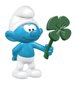 Smurf-with-Clover-Leaf-Plastic-Figurine-20797-FROM-OCCASIONS-SMURF-SET