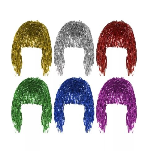 New Pink Tinsel Wig Shiny Metallic Foil Fancy Dress Costume Wig Party Accessory