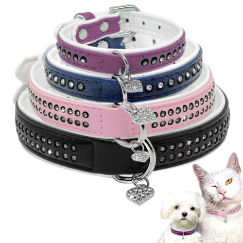 Bling Rhinestone PU Leather Pet Dog Collars With Heart Pendant for Dogs XS S M