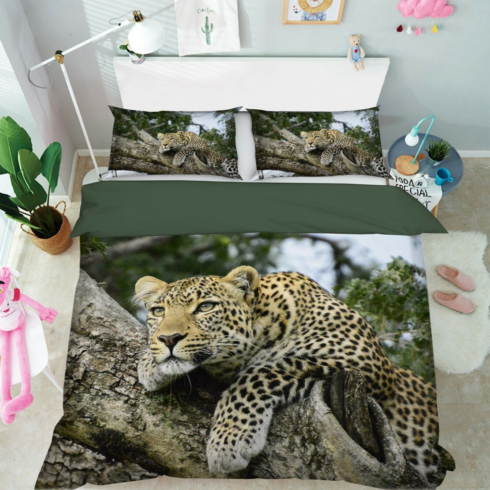 3D Leopard T067 Animal Bed Pillowcases Quilt Duvet Cover Set Queen King Sunday