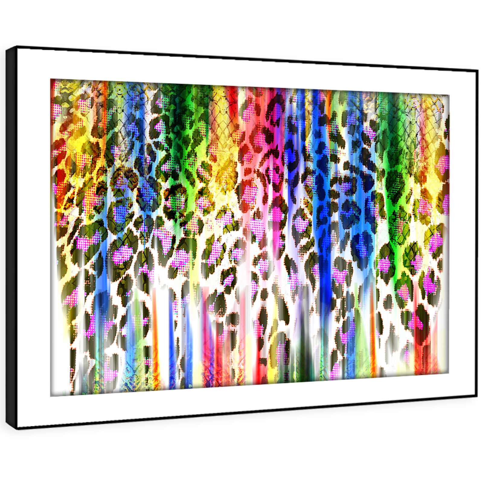 AB1008 Colourful Leopard Modern Abstract Framed Wall Art Large Picture Prints