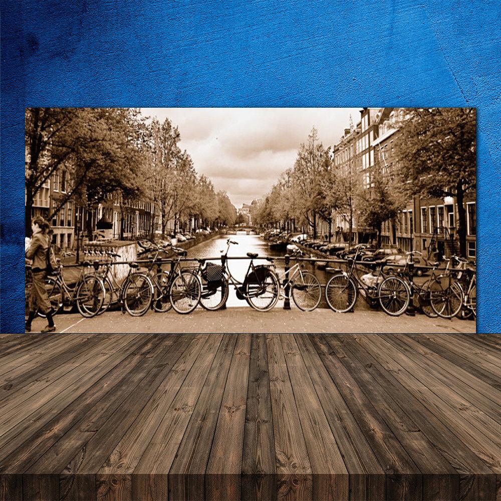 Crédence de cuisine en verre Panneau 120x60 Paysage Rivière Vélos Arbres