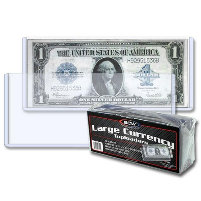 1 Pack of 25 BCW Large Currency Dollar Bill Topload Holder Storage protection