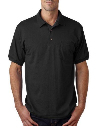 Mens Polo Shirt with Pocket Gildan Mens Dri Blend Moisture Wicking Sizes S-XL