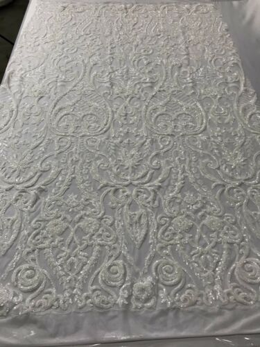 Embroidered Sequins Lace White 4 Way Stretch Fabric Fashion Dress By The Yard