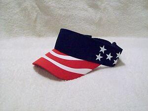 298307ad6e4 NEW NAVY BLUE US FLAG PATRIOTIC COTTON SUN FISHING GOLF VISOR HAT ...