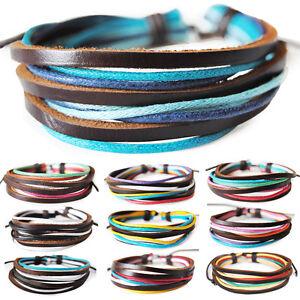 Leder-Baumwolle-Lederarmband-Surferarmband-Unisex-Armband-Leather-Bracelet