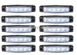 10-X-SEGNALATORE-LUCE-INGOMBRO-A-6-LED-LATERALE-12V-12VOLT-BIANCO-CAMPER-FURGONE