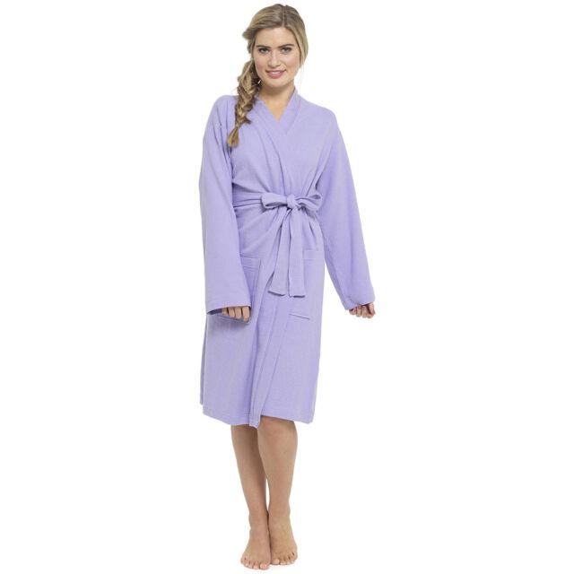 Womens Ladies Plain Summer Soft 100 Cotton Waffle Bath Dressing Gown ... 4e9377b6b