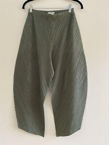 NWOT PLEATS PLEASE ISSEY MIYAKE Black Pleated Wide Leg Fringe PantsSize 3