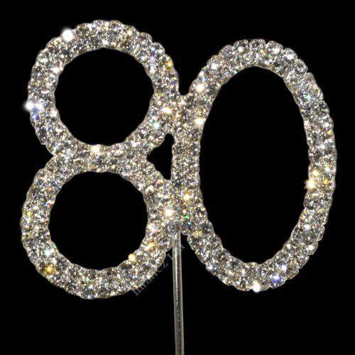 1x 80th 80 DIAMANTE RHINESTONE CAKE TOPPER CRYSTAL NUMBER PICKS Birthday