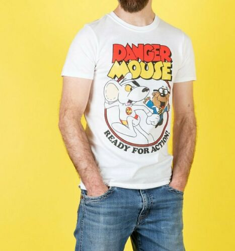 Official Men/'s Danger Mouse Ready For Action White T-Shirt