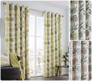 Karsten-100-Cotton-Face-Eyelet-Lined-Curtains-Ring-Top-Multi-Colour-Floral-Leaf