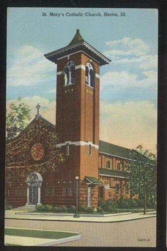 POSTCARD HERRIN ILILLINOIS ST SAINT MARY'S CATHOLIC CHURCH 1930'S