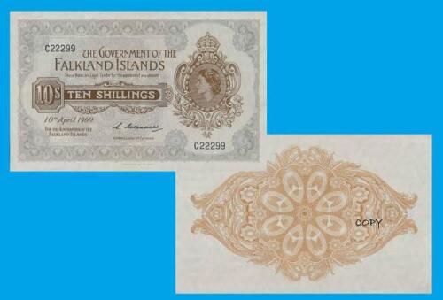 Falkland Islands 10 Shillings 1960. UNC - Reproductions