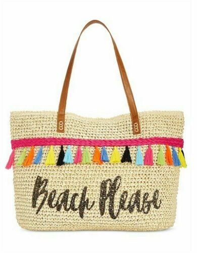 Mimi Straw Beach Please Tote Authentic INC International Concepts I.N.C