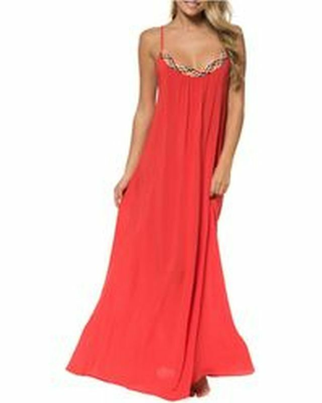 Red Carter Friendship Bracelet Gown Maxi Dress Cover Up Sz M Red K26