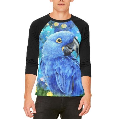 Blue Hyacinth Macaw Splatter Mens Raglan T Shirt