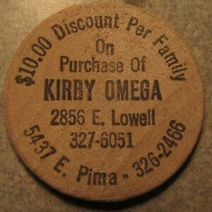 Details About Vintage Kirby Omega Vacuum Cleaners Tucson Az Wooden Nickel Token Arizona Ari