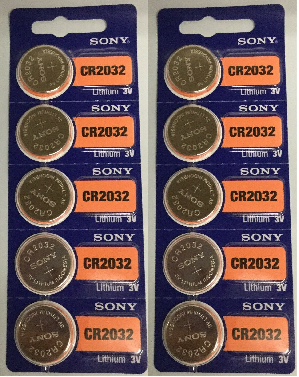 Lot 10 Fresh Dated SONY CR2032 3V Lithium 2032 Batteries Exp 2029