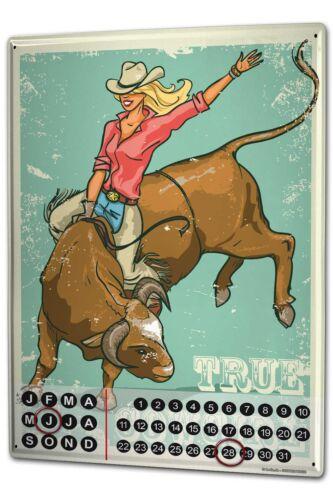 Dauer Wand Kalender Retro Western Echtes Cowgirl Metall Magnet