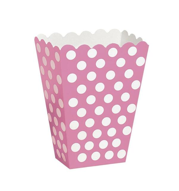 8 Popcorn Treat Polka Dots Spot Style Boxes Favour Party Paper Loot Bags