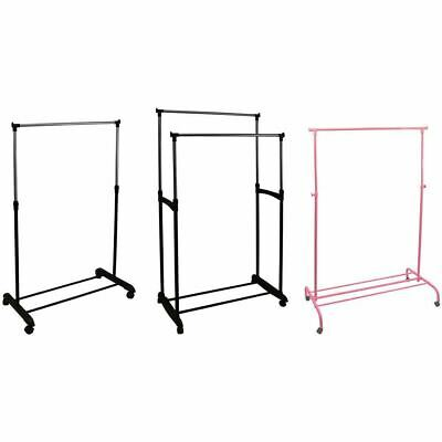 Rolling Garment Rack Single Double Adjustable Portable Clothes Rail Stand,Silver
