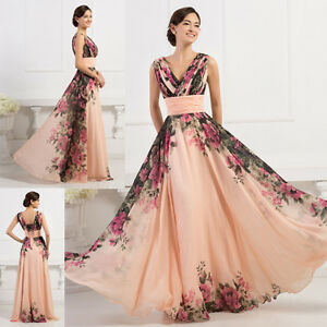 Elegant Long Bridesmaid Evening Prom Formal Ball Gown Party Maxi